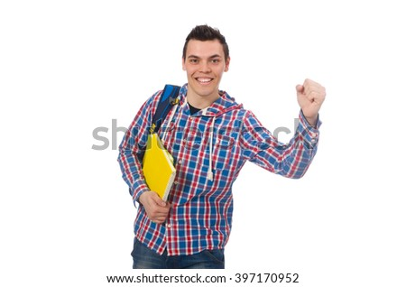 Smiling caucasian student with backpack and books isolated on wh
