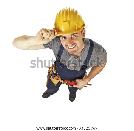 smiling caucasian young manual worker view from above isolated on white - stock photo