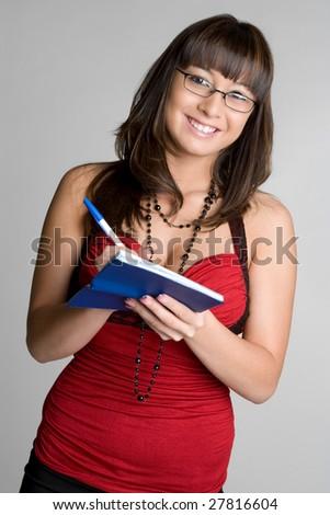 Smiling Checkbook Woman - stock photo