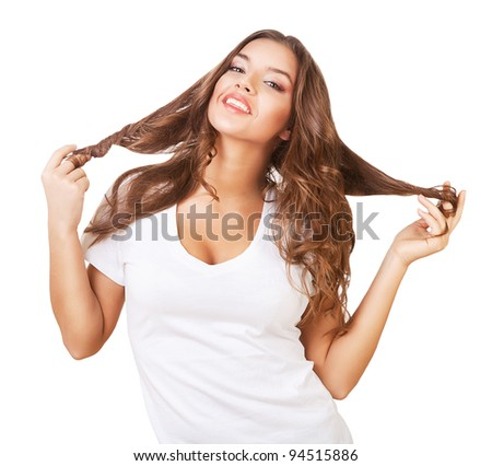 smiling cheerful cute woman with long hair on white background - stock photo