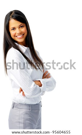 Smiling cheerful woman with her arms crossed, isolated on white