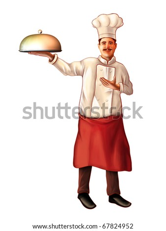 Smiling chef carrying a plate. Digital illustration, clipping path included. - stock photo