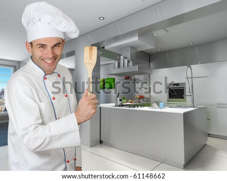 Smiling chef holding a wooden spatula in a modern kitchen