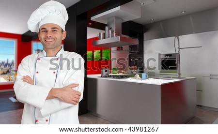 Smiling chef in a modern red and black kitchen holding a casserole