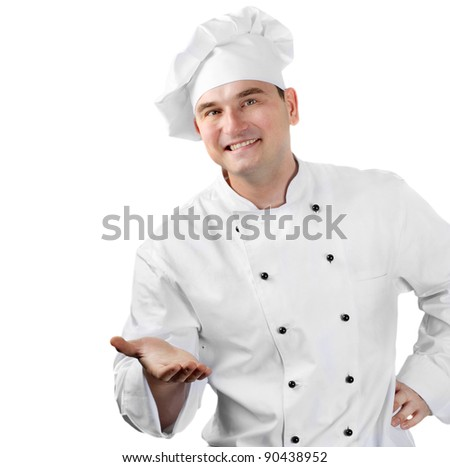 Smiling chef  welcome with hands. Isolated on white