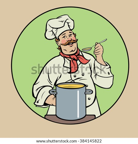 smiling chef with soup