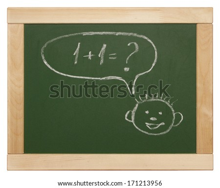 smiling child face with thought bubble - stock photo