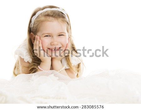 Smiling Child Little Girl Portrait, Kid Four Years over White Background - stock photo