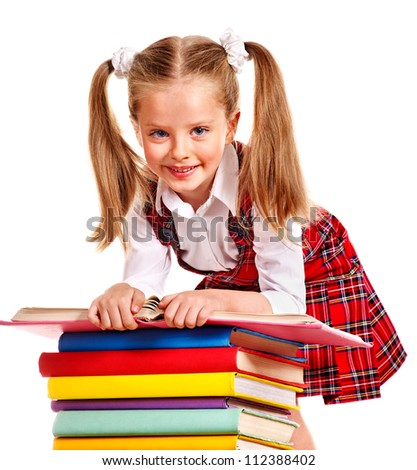 Smiling child with stack book. Isolated. - stock photo
