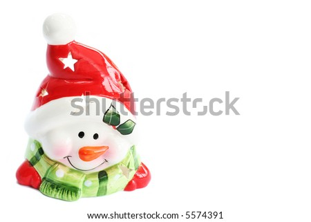 Smiling Christmas Snowman with Red Santa Hat