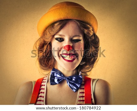 smiling clown - stock photo