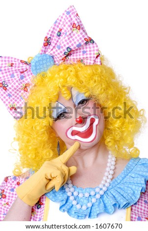 Smiling Clown with Giant Bow - stock photo