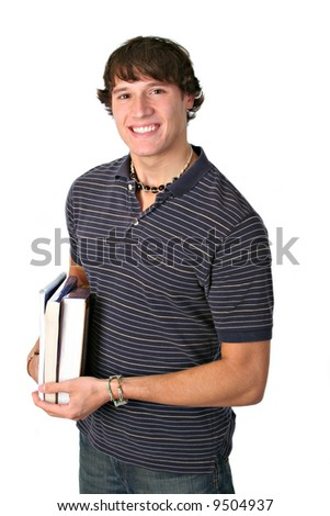 Smiling College Student Holding books Isolated - stock photo