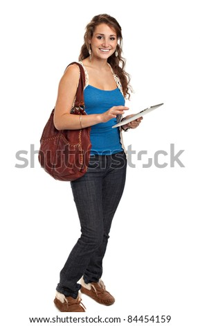 Smiling College Student Tap on Tablet PC Isolated on White Background - stock photo