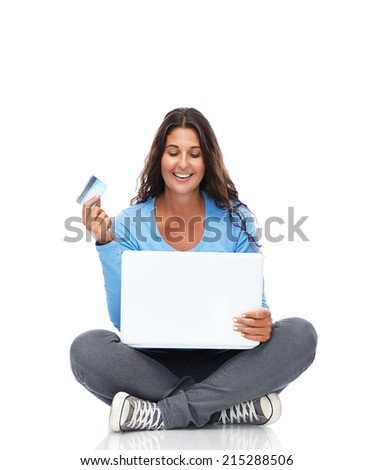 Smiling College Student With Credit Card And Laptop