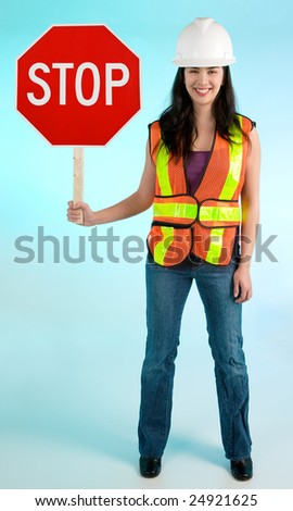 Smiling Conceptual Construction Lady Worker Stopping you For Something - stock photo