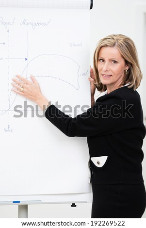 Smiling confident businesswoman standing in front of a flipchart with diagrams giving a presentation to her colleagues or team - stock photo