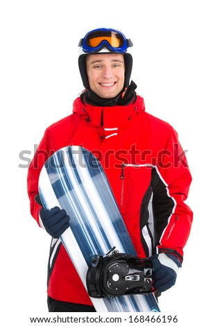 Smiling confident sportsman standing with snowboard. Wearing red sport outfit isolated over white background