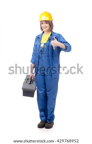 smiling construction female worker in blue workwear with toolbox showing okay sign isolated on white background. proposing service. advertisement gesture - stock photo