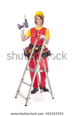 smiling construction female worker with ladder and drill isolated on white background