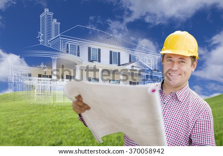 Smiling Contractor Holding Blueprints Over Custom Home Drawing and Photo Combination. - stock photo