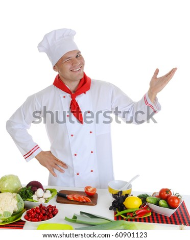 Smiling cook at restaurant. Isolated on white background - stock photo