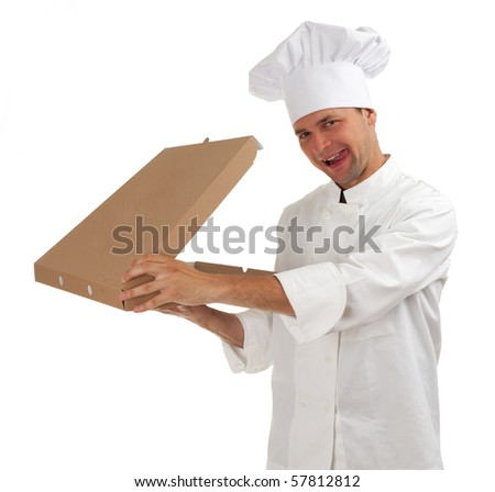 smiling cook in white uniform and hat with box of pizza