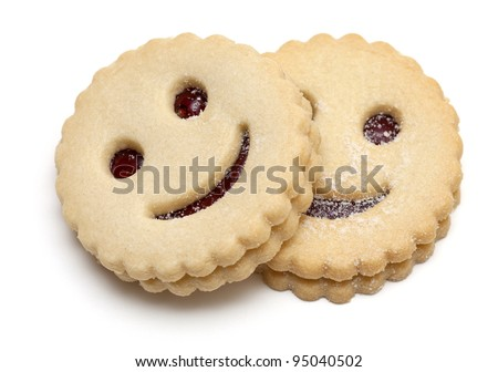 smiling cookies isolated on white - stock photo