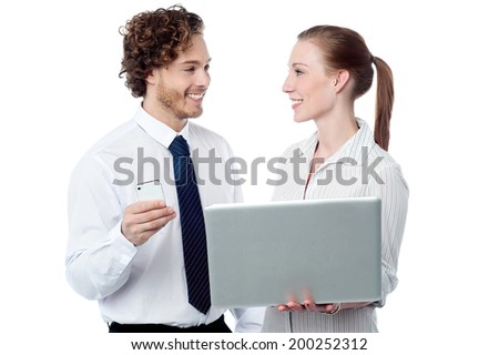 Smiling corporate workers with laptop, isolated on white