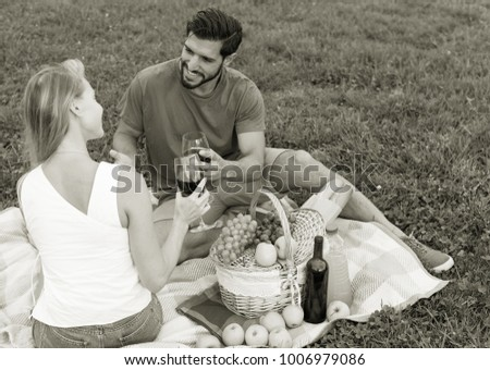 Smiling couple is sitting with wineglasses and talking in time picnic outdoor.