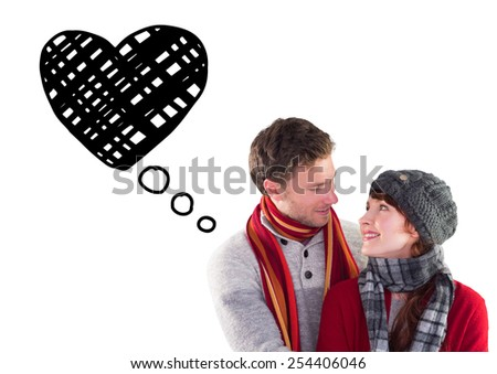 Smiling couple looking at each other against heart - stock photo
