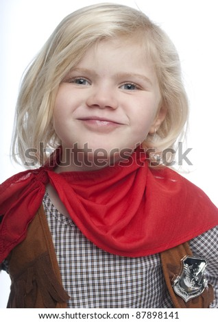 Smiling cowgirl, with red scarf