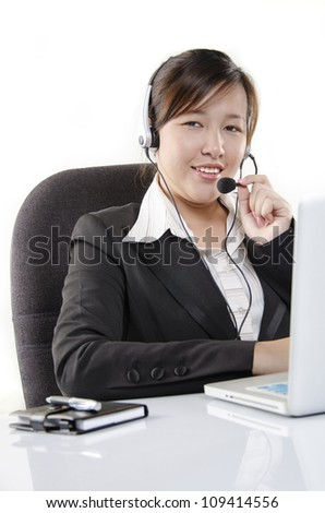 Smiling customer service agent - stock photo