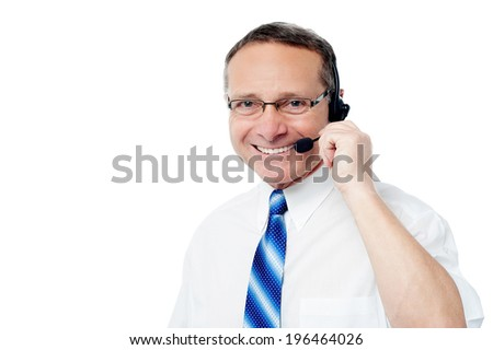Smiling customer support executive