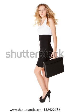 Smiling cute business woman with black briefcase