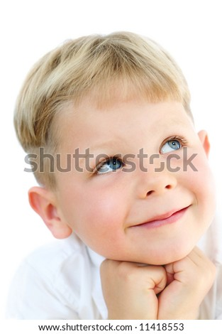 Smiling, cute five year old boy studio portrait on white background - stock photo