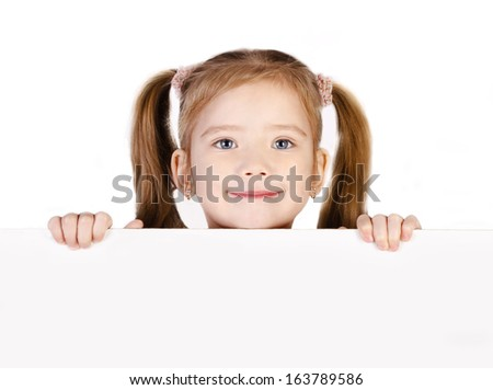 Smiling cute little girl isolated on white - stock photo