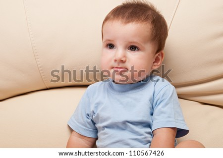 Smiling cute 9 month baby boy sitting on the sofa half-length portrait - stock photo
