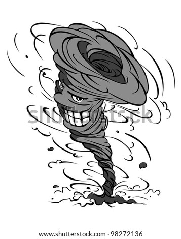 Smiling danger hurricane vortex in cartoon style. Vector version also available in gallery - stock photo