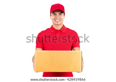 Smiling delivery man carrying a parcel box -  isolated on white background - stock photo