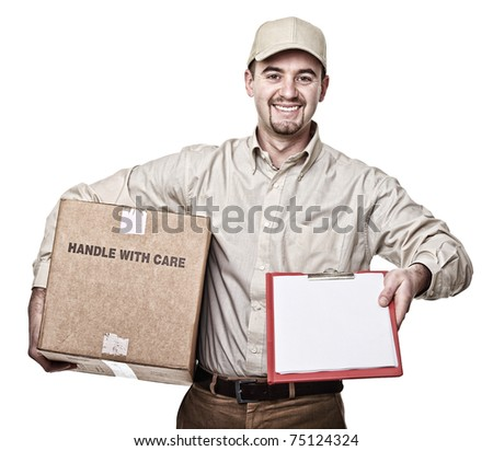 smiling delivery man isolated on white - stock photo