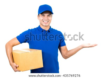 Smiling delivery man showing empty open palm (hand) - stock photo