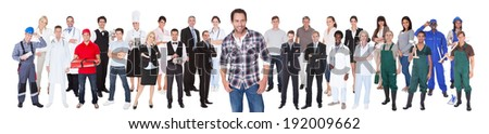 Smiling diverse people with different occupations standing over white background - stock photo