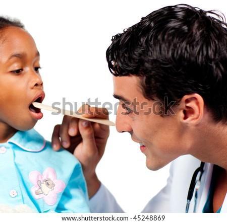 Smiling doctor checking little girl's throat isolated on a white background - stock photo
