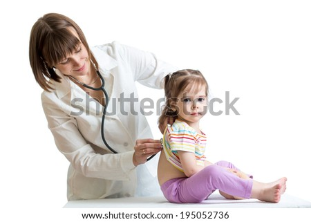 smiling doctor examining baby isolated on white background - stock photo