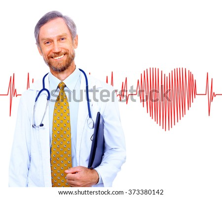 smiling doctor on the background heart rate - stock photo