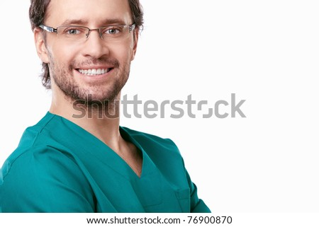 Smiling doctor with a white background - stock photo