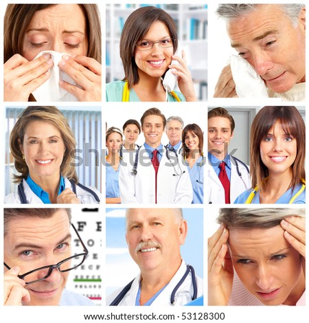 Smiling doctors and patients - stock photo