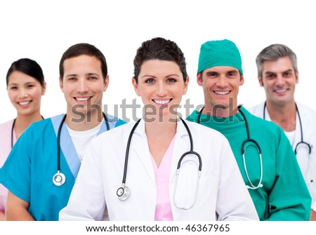 Smiling doctors showing their miscellaneous ethnicity - stock photo