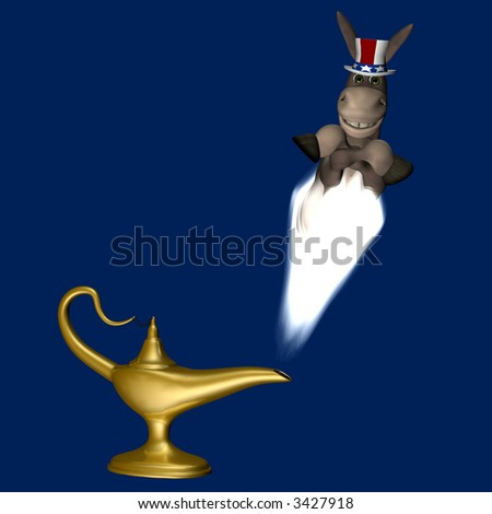 Smiling donkey appearing as a genie in a cloud of smoke rising from a lamp.  Isolated on a blue background. Democrat. Political humor. - stock photo